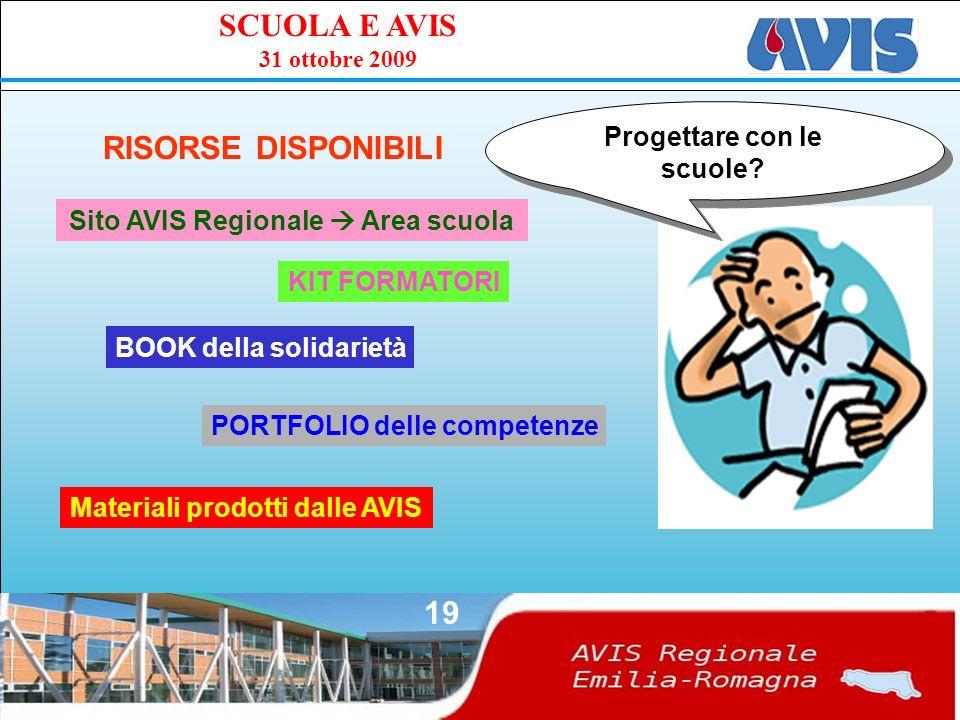 PPE SCUOLA E AVIS 31 ottobre 2009 19 RISORSE DISPONIBILI Progettare con le scuole.