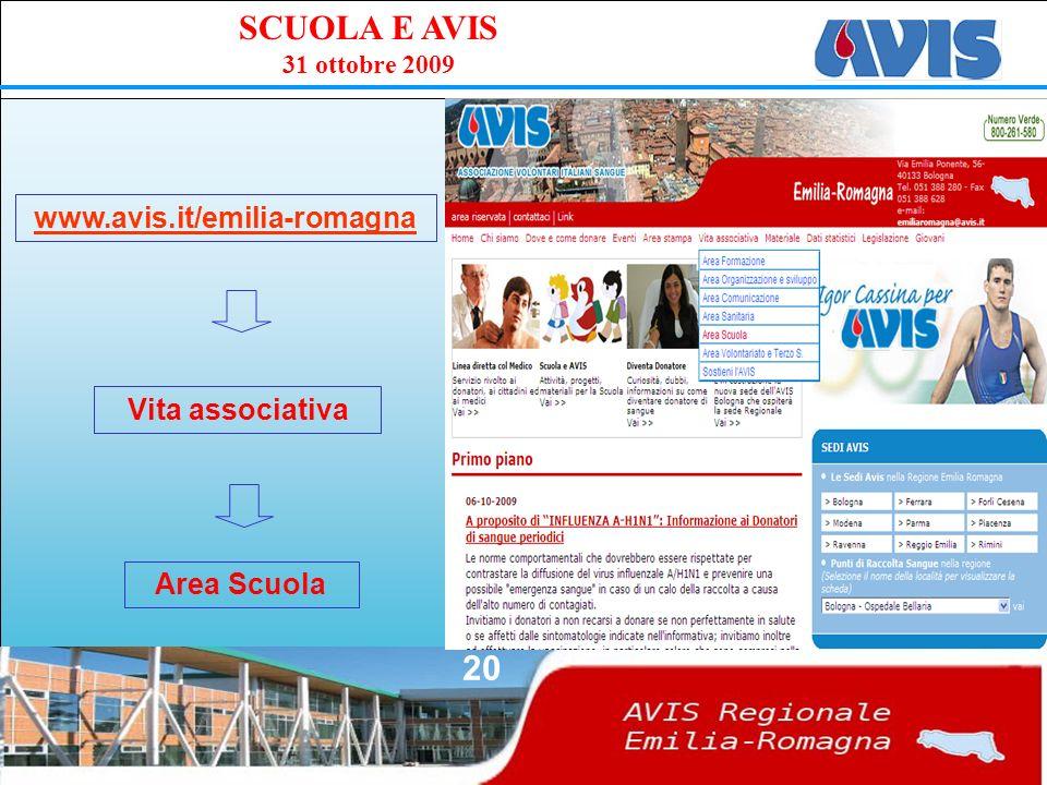 PPE SCUOLA E AVIS 31 ottobre 2009 20 www.avis.it/emilia-romagna Vita associativa Area Scuola