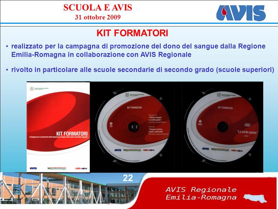 PPE SCUOLA E AVIS 31 ottobre 2009 22 KIT FORMATORI realizzato per la campagna di promozione del dono del sangue dalla Regione Emilia-Romagna in collaborazione con AVIS Regionale rivolto in particolare alle scuole secondarie di secondo grado (scuole superiori)