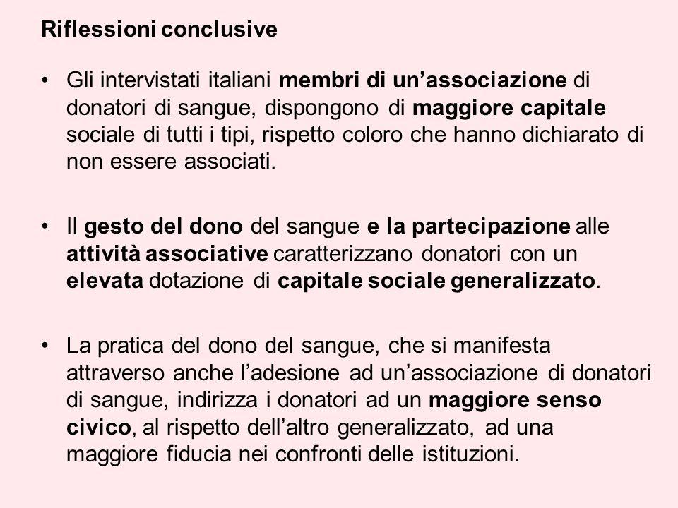 Gli intervistati italiani membri di unassociazione di donatori di sangue, dispongono di maggiore capitale sociale di tutti i tipi, rispetto coloro che hanno dichiarato di non essere associati.