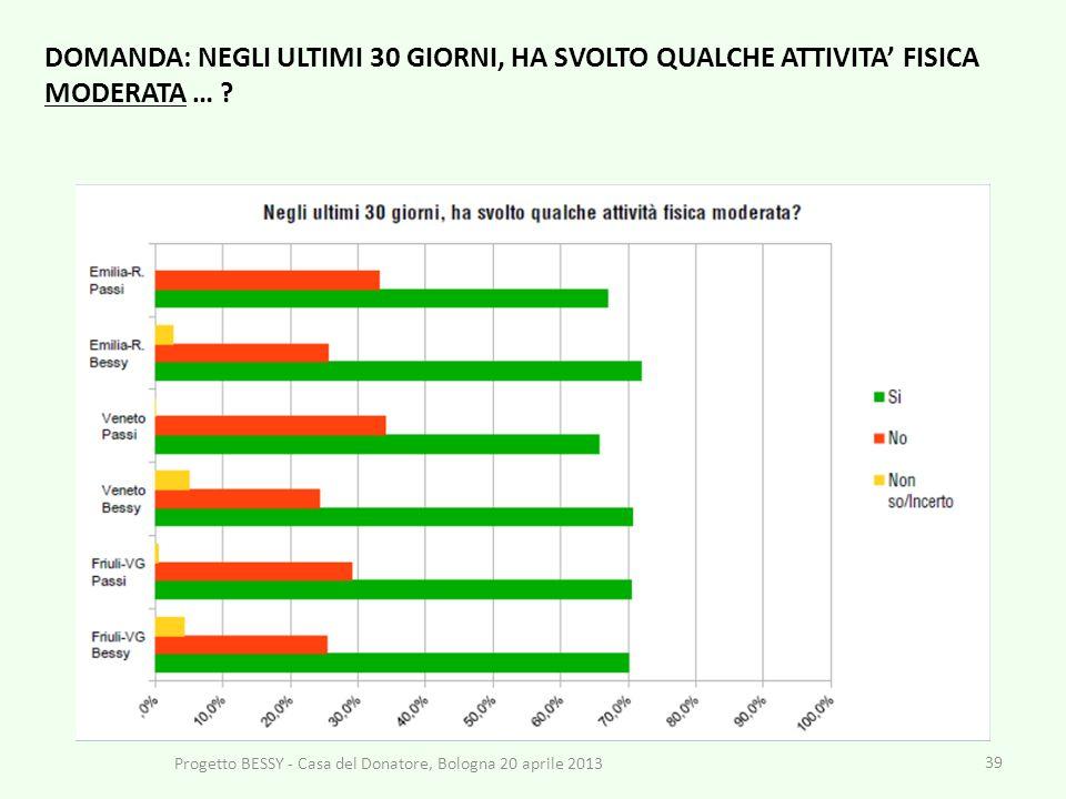 39 Progetto BESSY - Casa del Donatore, Bologna 20 aprile 2013 DOMANDA: NEGLI ULTIMI 30 GIORNI, HA SVOLTO QUALCHE ATTIVITA FISICA MODERATA … ?