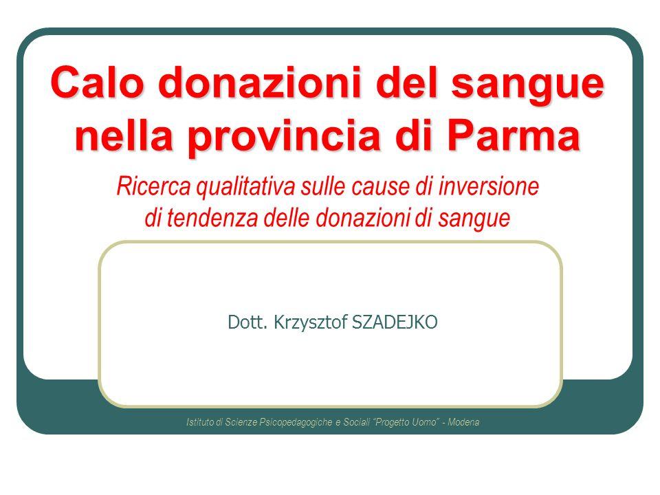 Dott. Krzysztof SZADEJKO Istituto di Scienze Psicopedagogiche e Sociali Progetto Uomo - Modena Calo donazioni del sangue nella provincia di Parma Rice