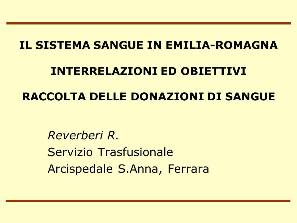 IL SISTEMA SANGUE IN EMILIA-ROMAGNA INTERRELAZIONI ED OBIETTIVI RACCOLTA DELLE DONAZIONI DI SANGUE Reverberi R.