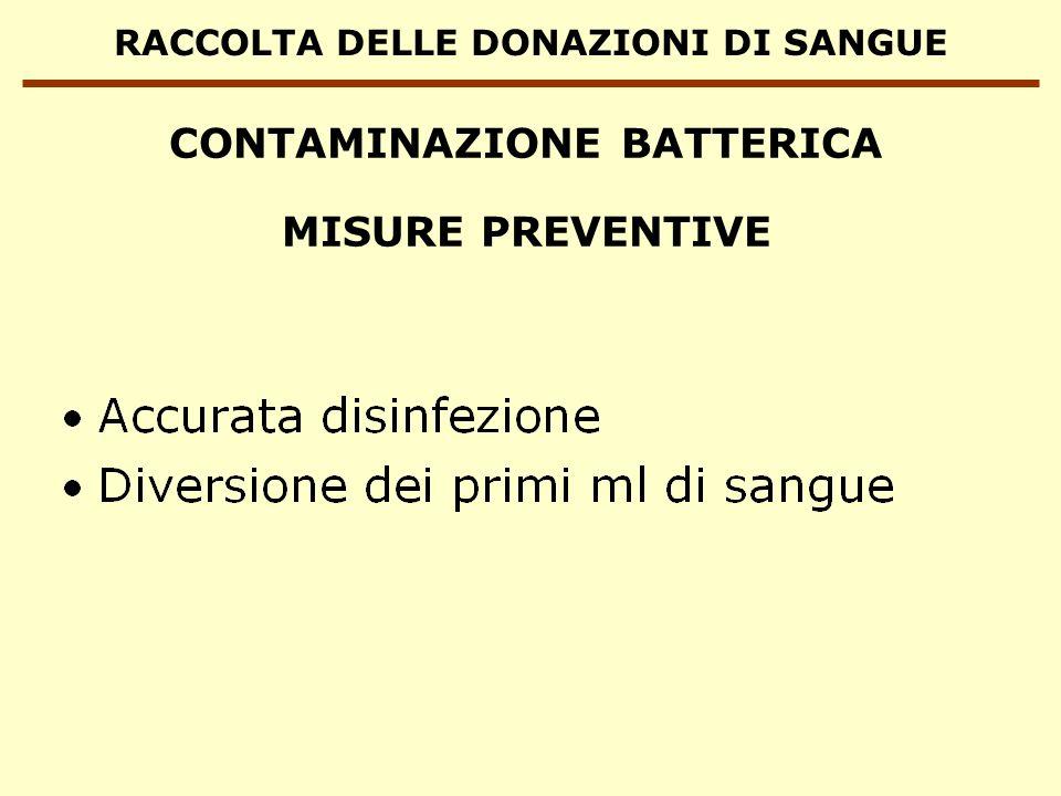 RACCOLTA DELLE DONAZIONI DI SANGUE CONTAMINAZIONE BATTERICA MISURE PREVENTIVE