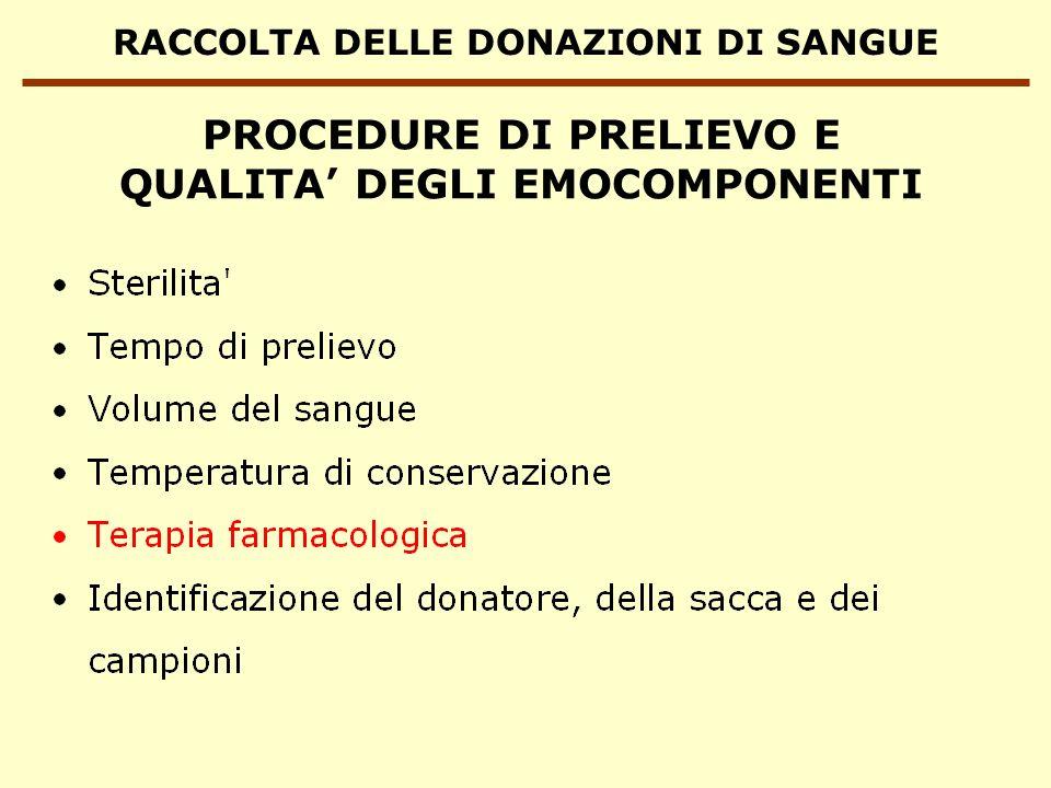 RACCOLTA DELLE DONAZIONI DI SANGUE PROCEDURE DI PRELIEVO E QUALITA DEGLI EMOCOMPONENTI