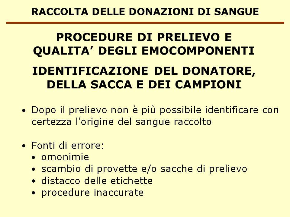 RACCOLTA DELLE DONAZIONI DI SANGUE IDENTIFICAZIONE DEL DONATORE, DELLA SACCA E DEI CAMPIONI PROCEDURE DI PRELIEVO E QUALITA DEGLI EMOCOMPONENTI