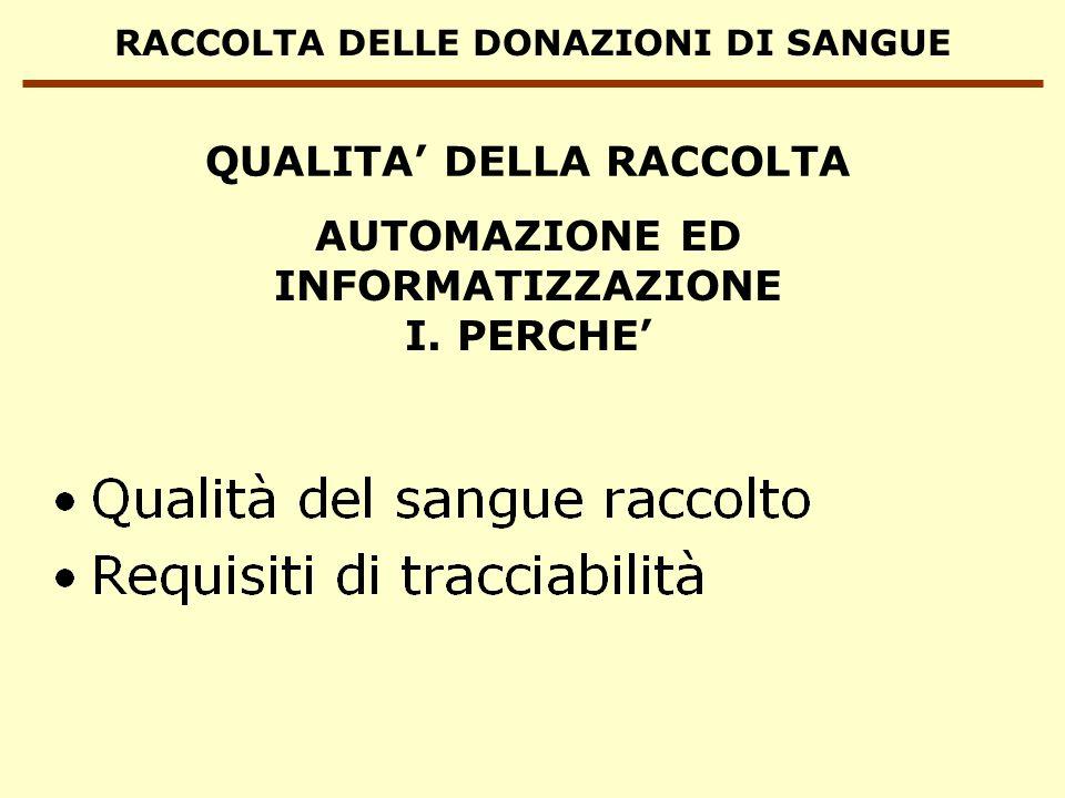 RACCOLTA DELLE DONAZIONI DI SANGUE AUTOMAZIONE ED INFORMATIZZAZIONE I. PERCHE QUALITA DELLA RACCOLTA