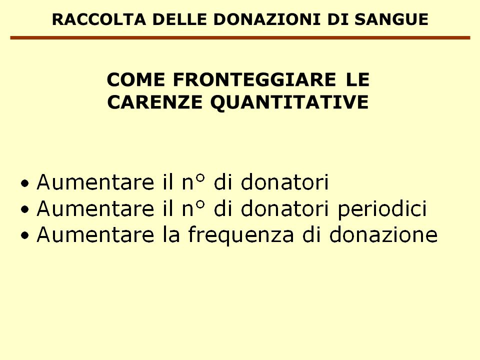 RACCOLTA DELLE DONAZIONI DI SANGUE FATTORI CHE INFLUENZANO IL NUMERO DI DONAZIONI DI SANGUE