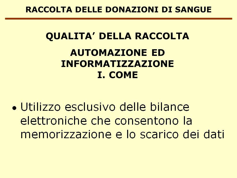 RACCOLTA DELLE DONAZIONI DI SANGUE AUTOMAZIONE ED INFORMATIZZAZIONE I. COME QUALITA DELLA RACCOLTA