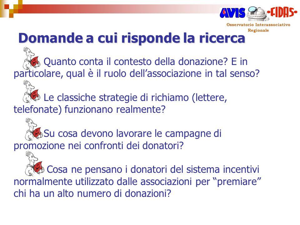 Osservatorio Interassociativo Regionale Domande a cui risponde la ricerca Quanto conta il contesto della donazione? E in particolare, qual è il ruolo