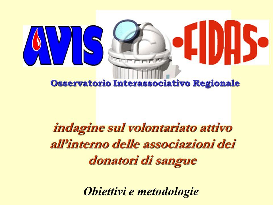 Osservatorio Interassociativo Regionale Obiettivi e metodologie indagine sul volontariato attivo allinterno delle associazioni dei donatori di sangue