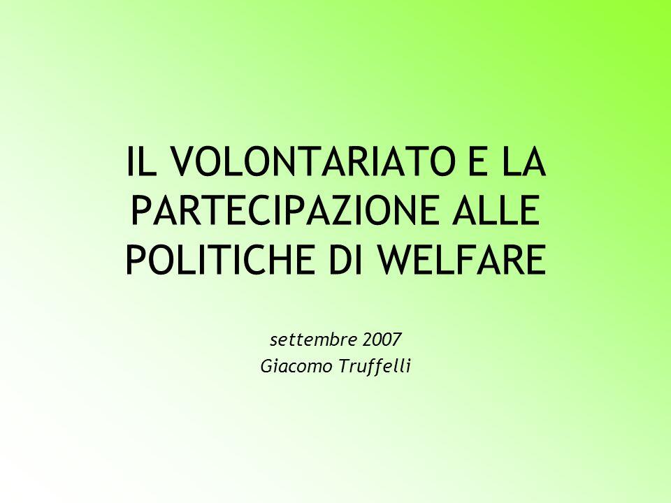 IL VOLONTARIATO E LA PARTECIPAZIONE ALLE POLITICHE DI WELFARE settembre 2007 Giacomo Truffelli