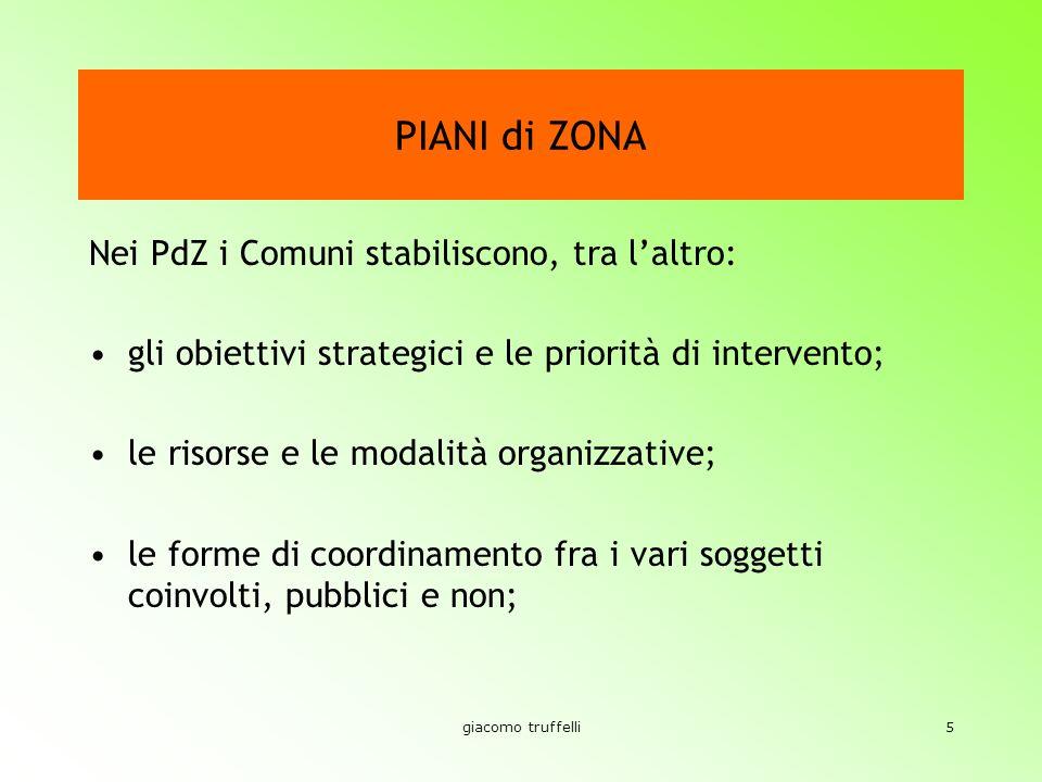 giacomo truffelli5 PIANI di ZONA Nei PdZ i Comuni stabiliscono, tra laltro: gli obiettivi strategici e le priorità di intervento; le risorse e le modalità organizzative; le forme di coordinamento fra i vari soggetti coinvolti, pubblici e non;