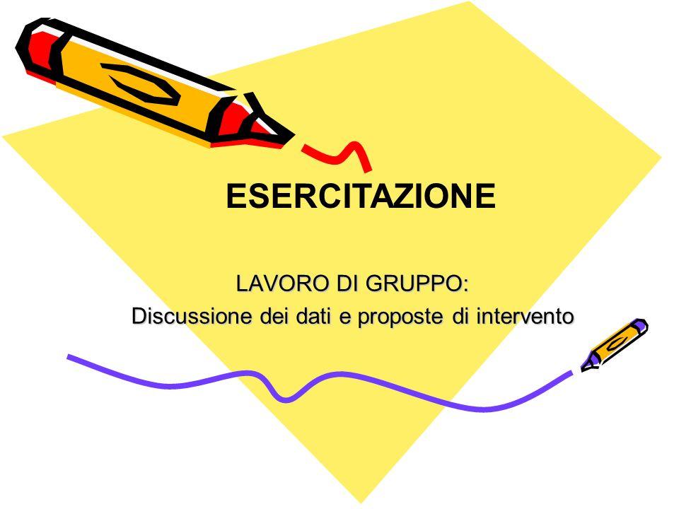 LAVORO DI GRUPPO: Discussione dei dati e proposte di intervento ESERCITAZIONE