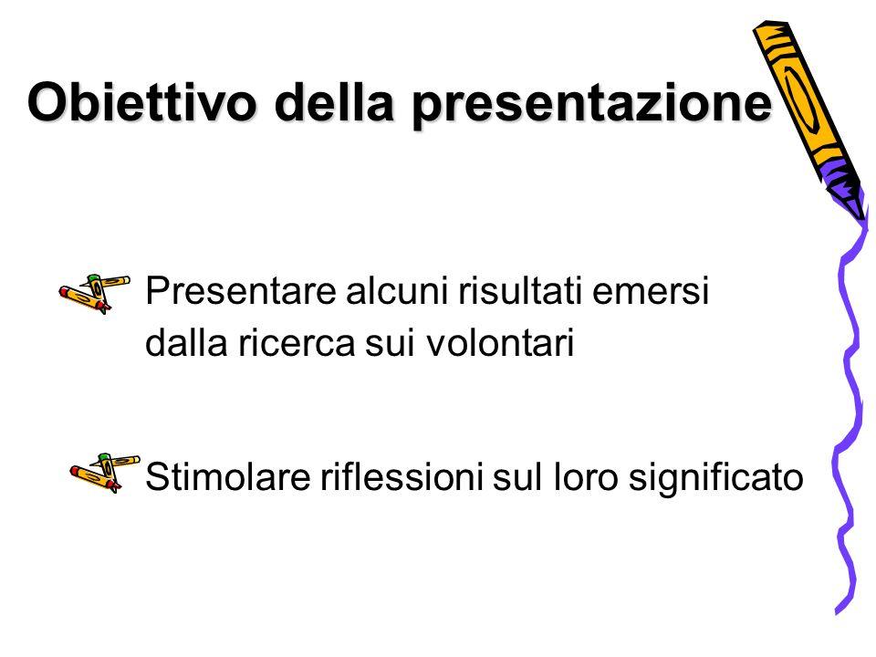 Obiettivo della presentazione Presentare alcuni risultati emersi dalla ricerca sui volontari Stimolare riflessioni sul loro significato