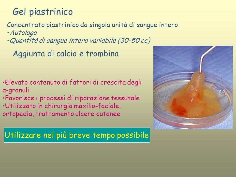 Gel piastrinico Concentrato piastrinico da singola unità di sangue intero Autologo Quantità di sangue intero variabile (30-50 cc) Aggiunta di calcio e