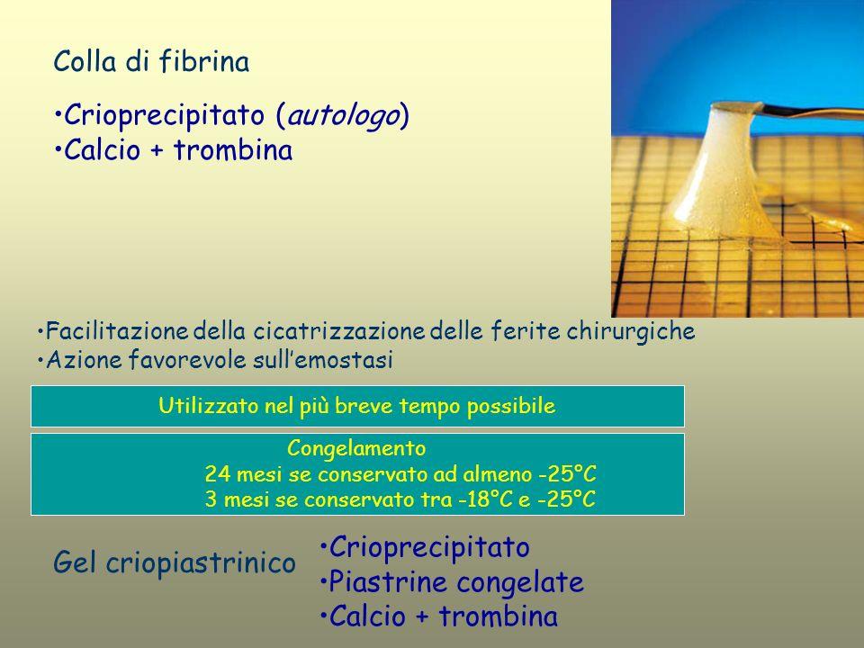 Colla di fibrina Crioprecipitato (autologo) Calcio + trombina Utilizzato nel più breve tempo possibile Congelamento 24 mesi se conservato ad almeno -2