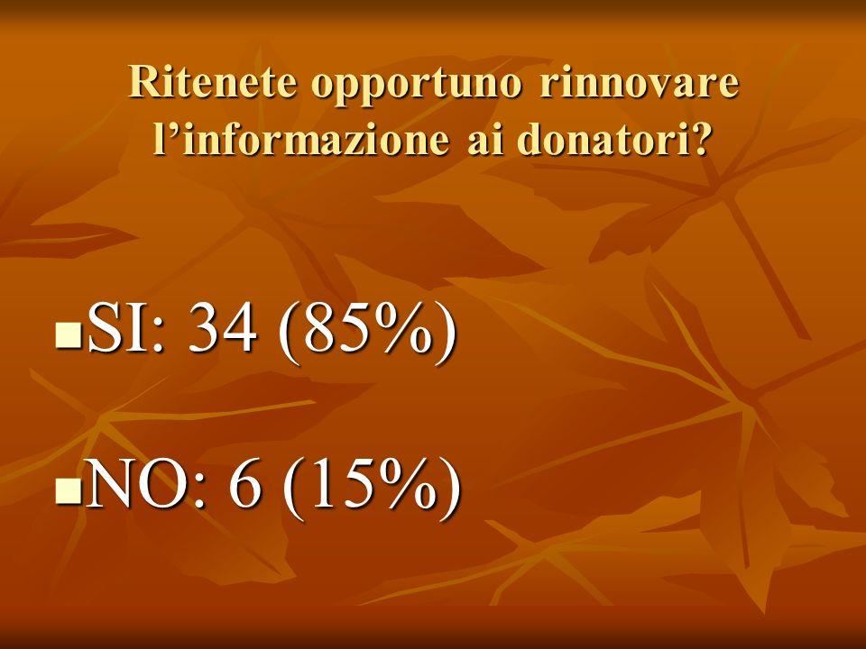 Ritenete opportuno rinnovare linformazione ai donatori.