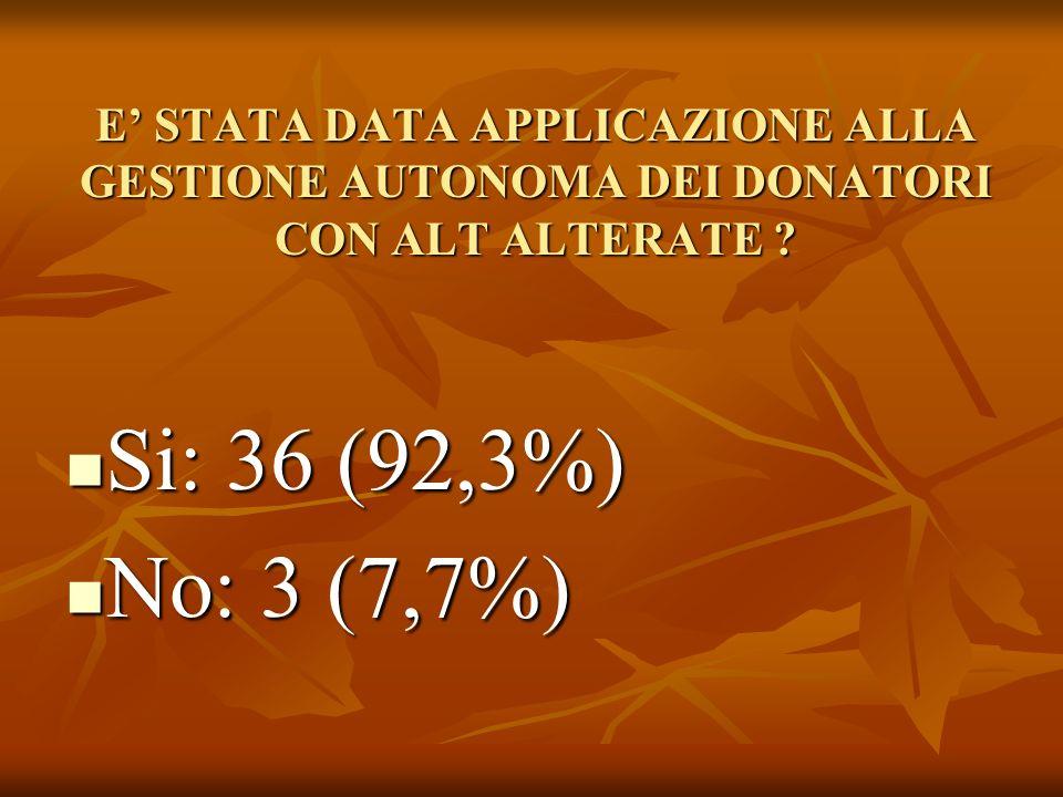 E STATA DATA APPLICAZIONE ALLA GESTIONE AUTONOMA DEI DONATORI CON ALT ALTERATE .