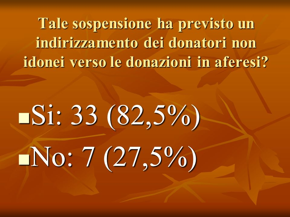 Tale sospensione ha previsto un indirizzamento dei donatori non idonei verso le donazioni in aferesi.