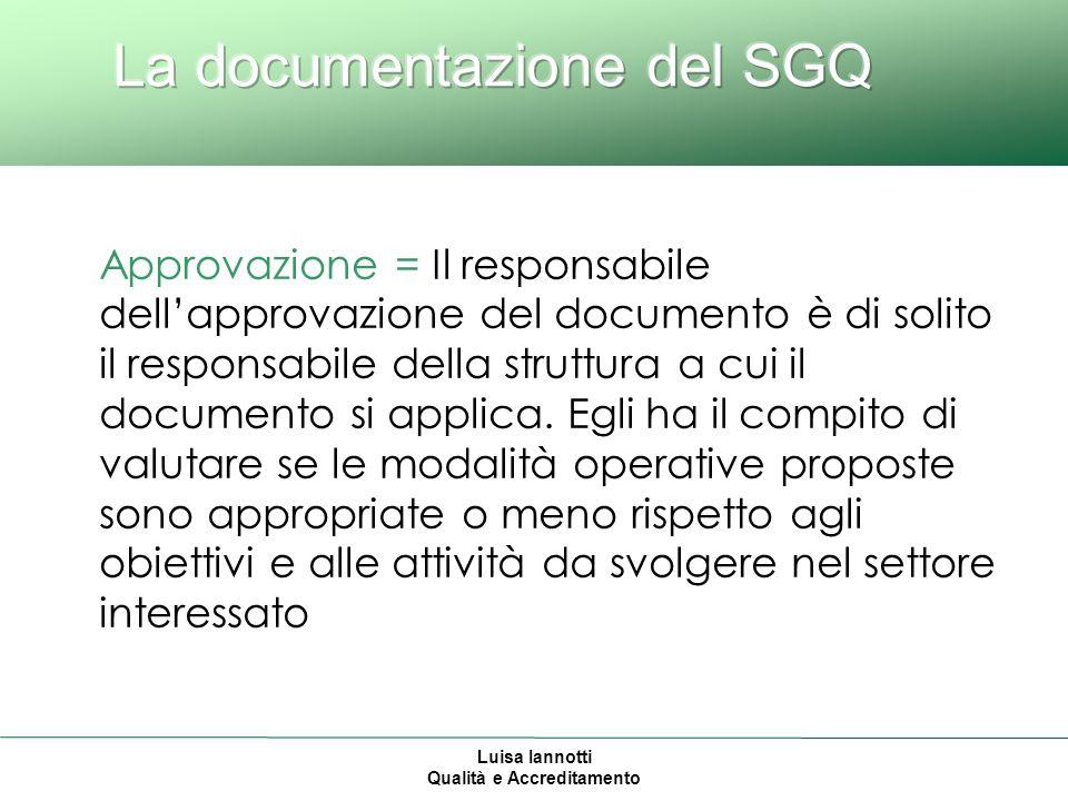 Luisa Iannotti Qualità e Accreditamento Approvazione = Il responsabile dellapprovazione del documento è di solito il responsabile della struttura a cui il documento si applica.