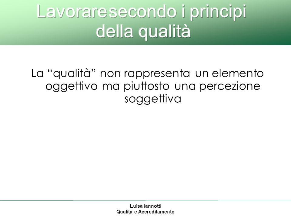 Luisa Iannotti Qualità e Accreditamento La qualità non rappresenta un elemento oggettivo ma piuttosto una percezione soggettiva