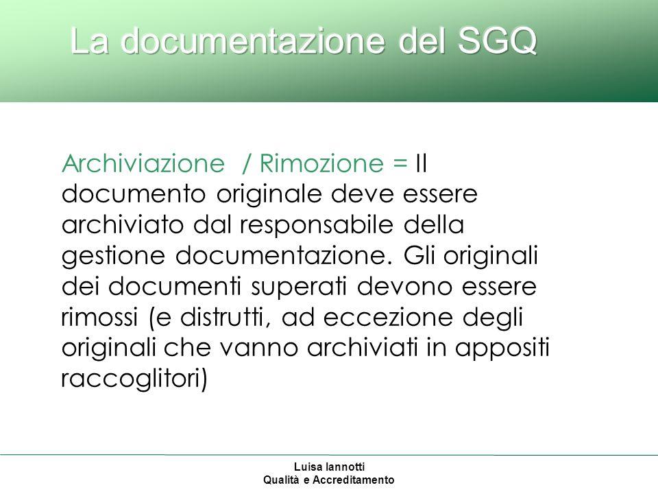 Luisa Iannotti Qualità e Accreditamento Archiviazione / Rimozione = Il documento originale deve essere archiviato dal responsabile della gestione documentazione.