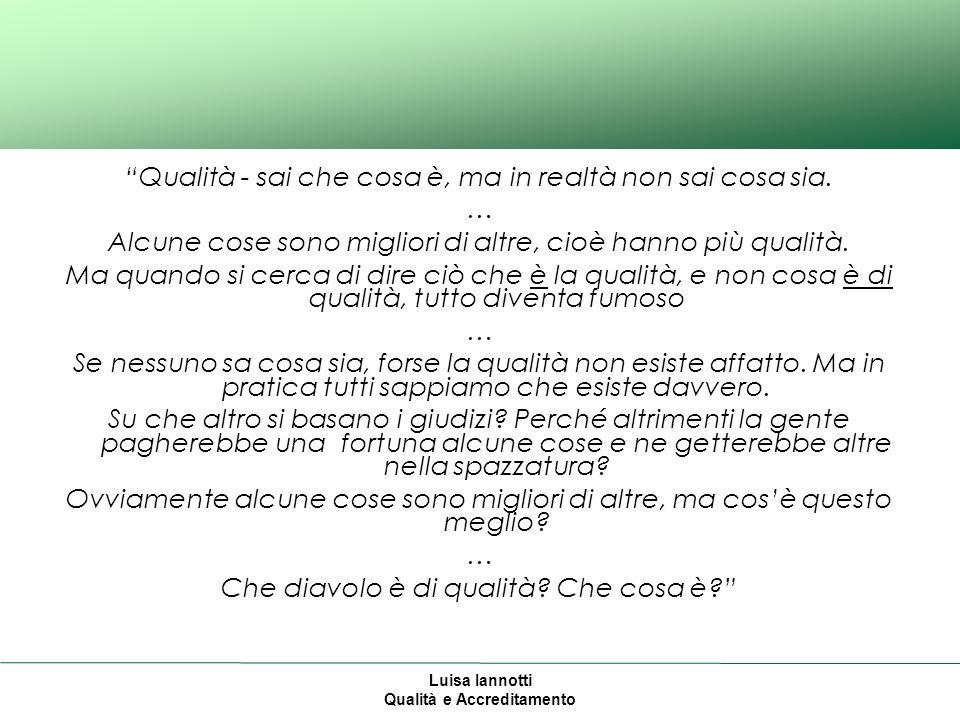 Luisa Iannotti Qualità e Accreditamento Lindicatore ha in sé le informazioni necessarie per assumere decisioni.