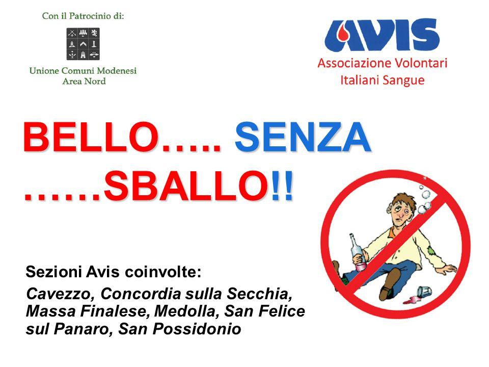 BELLO….. SENZA ……SBALLO!! BELLO….. SENZA ……SBALLO!! Sezioni Avis coinvolte: Cavezzo, Concordia sulla Secchia, Massa Finalese, Medolla, San Felice sul