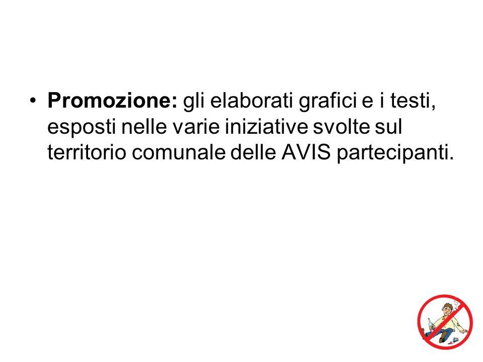 Promozione: gli elaborati grafici e i testi, esposti nelle varie iniziative svolte sul territorio comunale delle AVIS partecipanti.