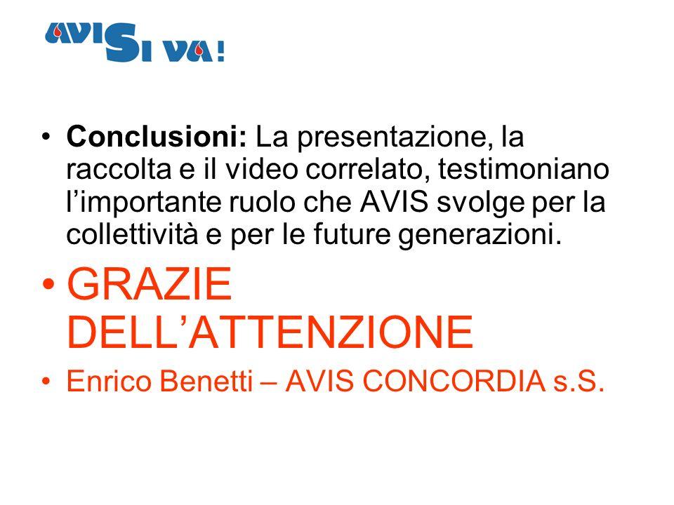 Conclusioni: La presentazione, la raccolta e il video correlato, testimoniano limportante ruolo che AVIS svolge per la collettività e per le future ge