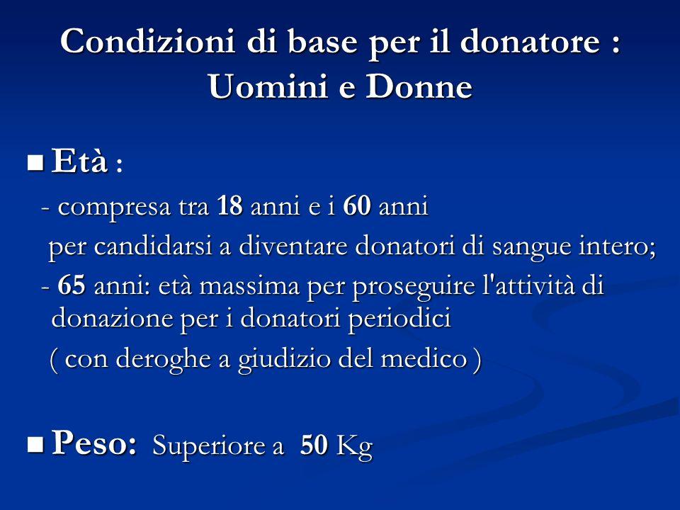 Condizioni di base per il donatore : Uomini e Donne Età Età : - compresa tra 18 anni e i 60 anni - compresa tra 18 anni e i 60 anni per candidarsi a d