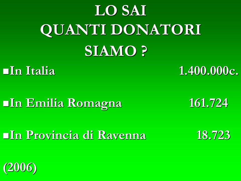 LO SAI QUANTI DONATORI SIAMO ? In Italia 1.400.000c. In Italia 1.400.000c. In Emilia Romagna 161.724 In Emilia Romagna 161.724 In Provincia di Ravenna
