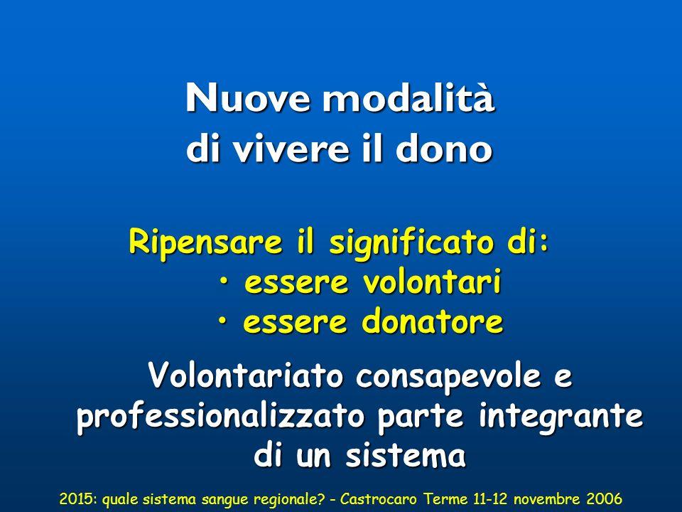 ANALISI ESISTENTE aspetti generali Modificata la popolazione 170 diverse etnie in Regione Emilia Romagna 2015: quale sistema sangue regionale.