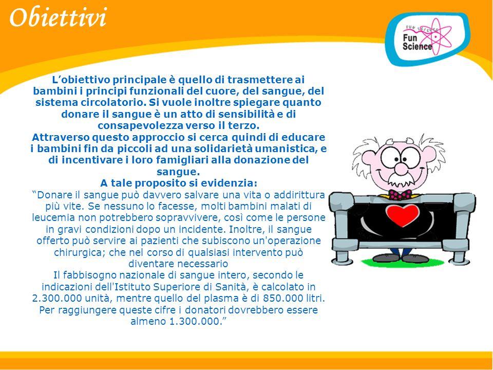 Lobiettivo principale è quello di trasmettere ai bambini i principi funzionali del cuore, del sangue, del sistema circolatorio.