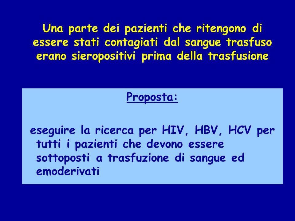 Proposta: eseguire la ricerca per HIV, HBV, HCV per tutti i pazienti che devono essere sottoposti a trasfuzione di sangue ed emoderivati Una parte dei pazienti che ritengono di essere stati contagiati dal sangue trasfuso erano sieropositivi prima della trasfusione