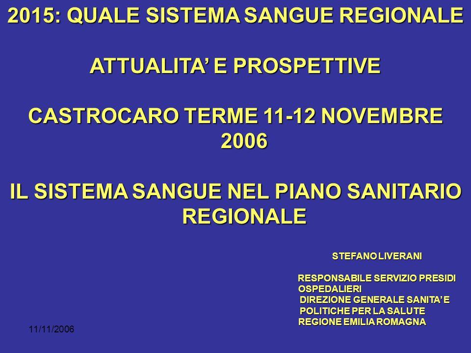 11/11/2006 2015: QUALE SISTEMA SANGUE REGIONALE ATTUALITA E PROSPETTIVE CASTROCARO TERME 11-12 NOVEMBRE 2006 IL SISTEMA SANGUE NEL PIANO SANITARIO REGIONALE STEFANO LIVERANI RESPONSABILE SERVIZIO PRESIDI OSPEDALIERI DIREZIONE GENERALE SANITA E POLITICHE PER LA SALUTE DIREZIONE GENERALE SANITA E POLITICHE PER LA SALUTE REGIONE EMILIA ROMAGNA REGIONE EMILIA ROMAGNA