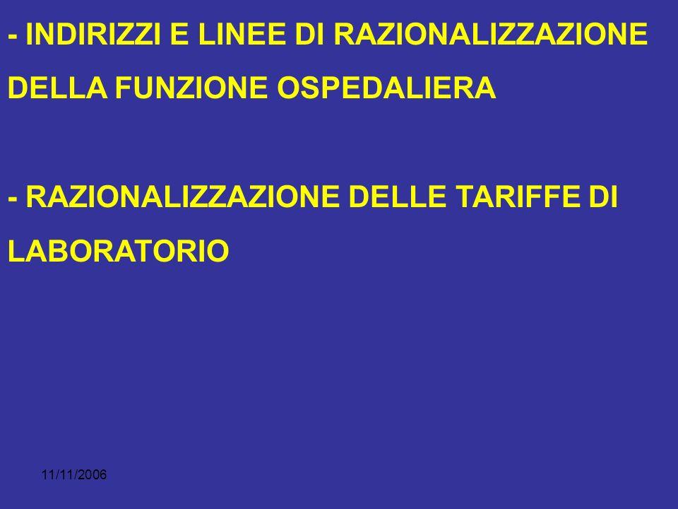11/11/2006 - INDIRIZZI E LINEE DI RAZIONALIZZAZIONE DELLA FUNZIONE OSPEDALIERA - RAZIONALIZZAZIONE DELLE TARIFFE DI LABORATORIO