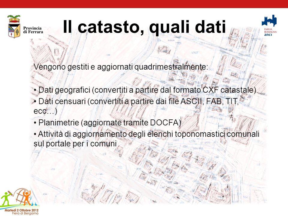 Il catasto, quali dati Vengono gestiti e aggiornati quadrimestralmente: Dati geografici (convertiti a partire dal formato CXF catastale) Dati censuari