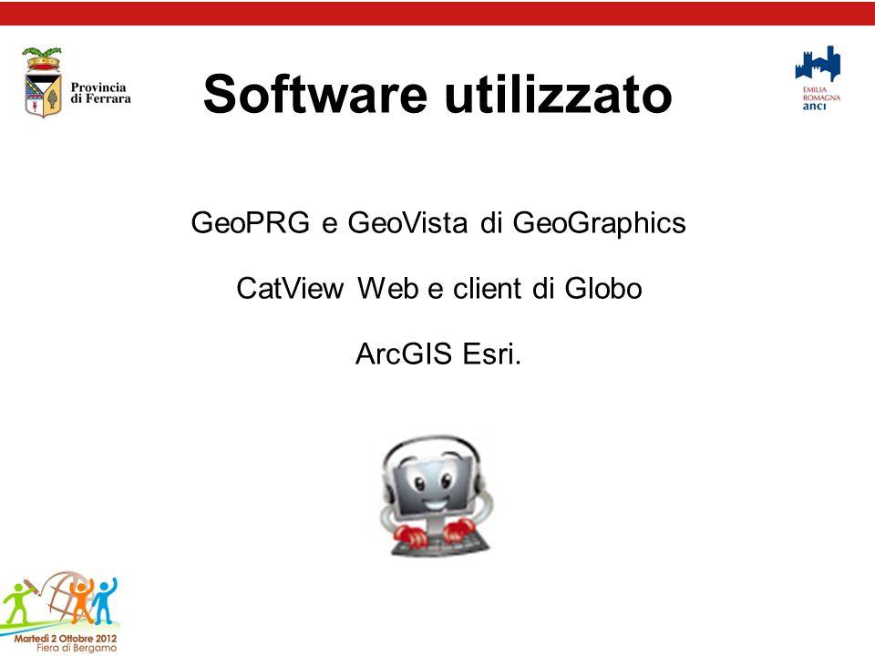 Software utilizzato GeoPRG e GeoVista di GeoGraphics CatView Web e client di Globo ArcGIS Esri.