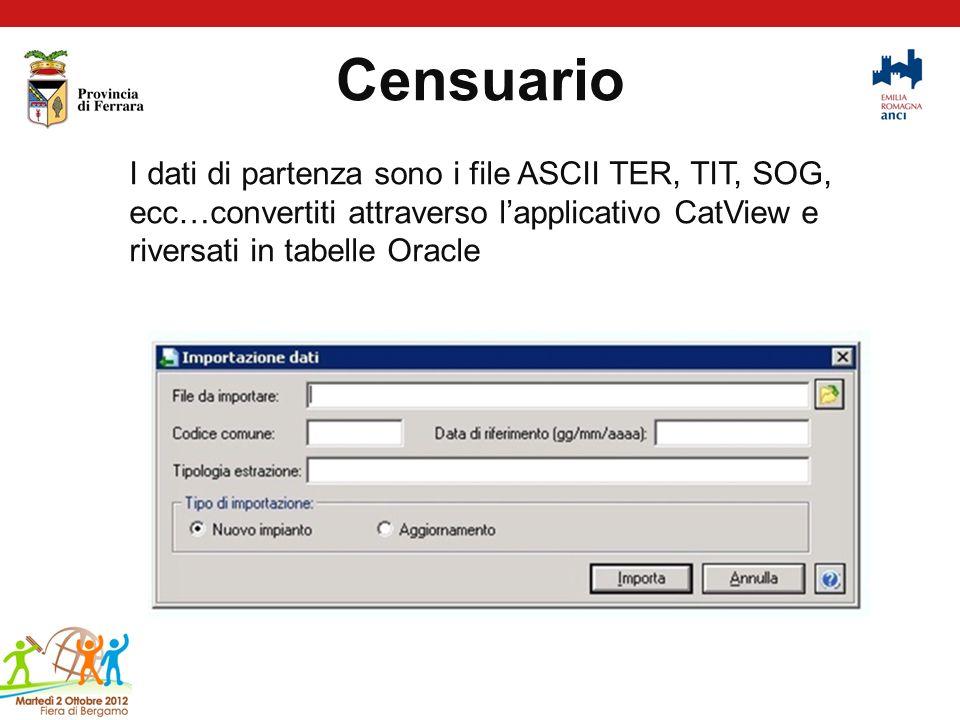 Censuario I dati di partenza sono i file ASCII TER, TIT, SOG, ecc…convertiti attraverso lapplicativo CatView e riversati in tabelle Oracle