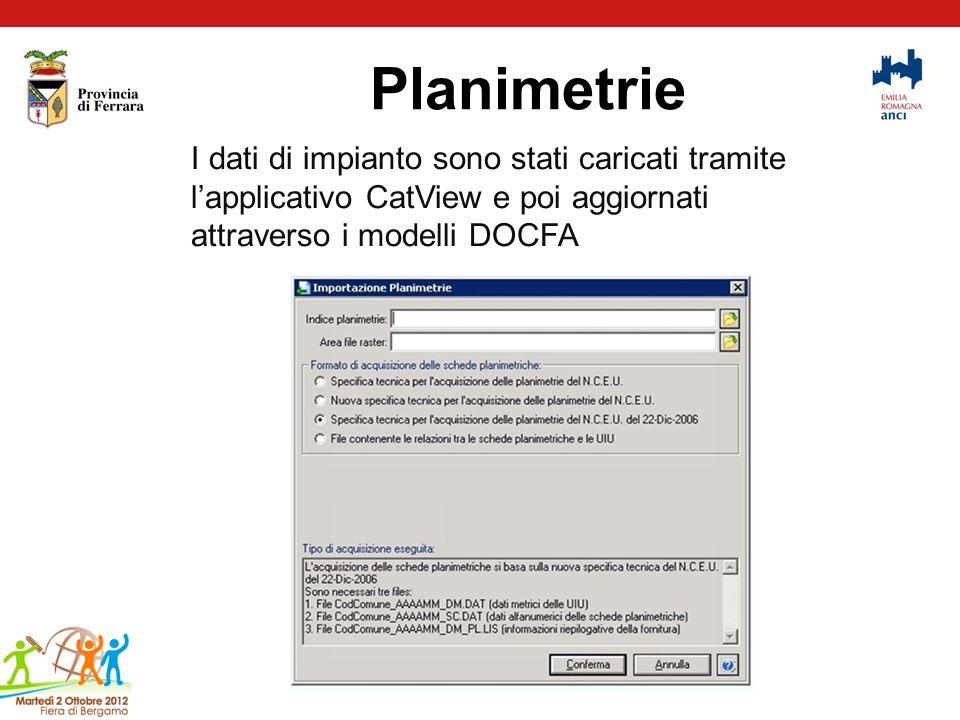 Planimetrie I dati di impianto sono stati caricati tramite lapplicativo CatView e poi aggiornati attraverso i modelli DOCFA