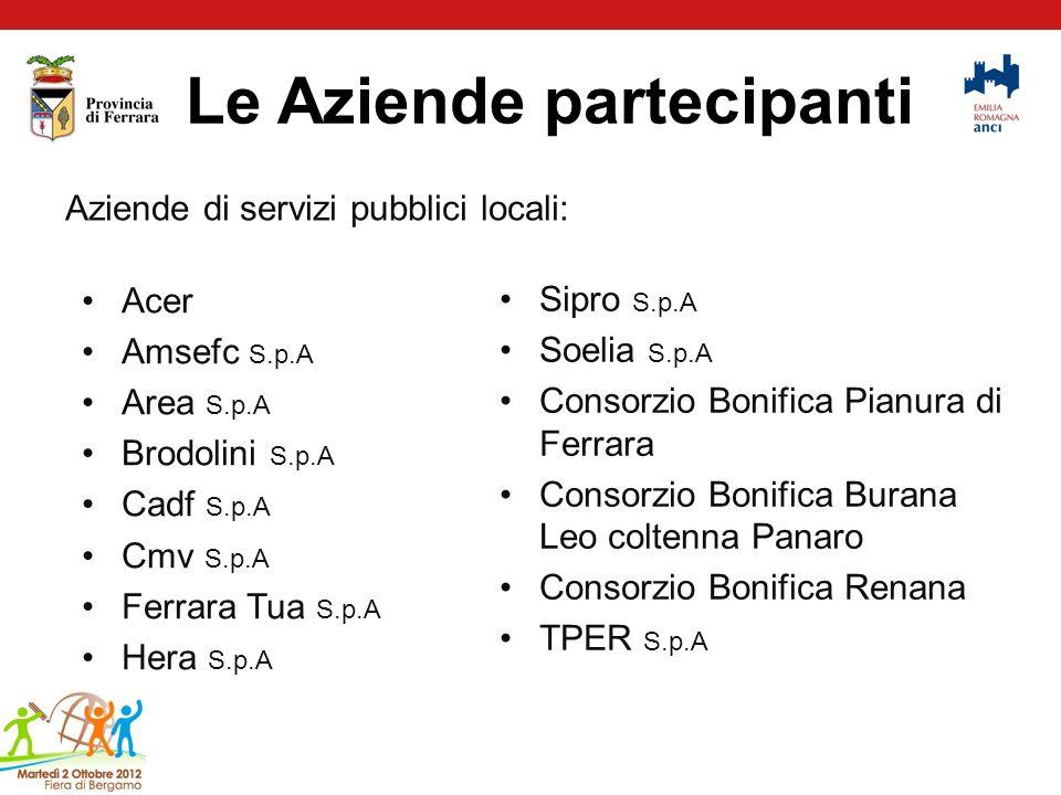Le Aziende partecipanti Aziende di servizi pubblici locali: Acer Amsefc S.p.A Area S.p.A Brodolini S.p.A Cadf S.p.A Cmv S.p.A Ferrara Tua S.p.A Hera S