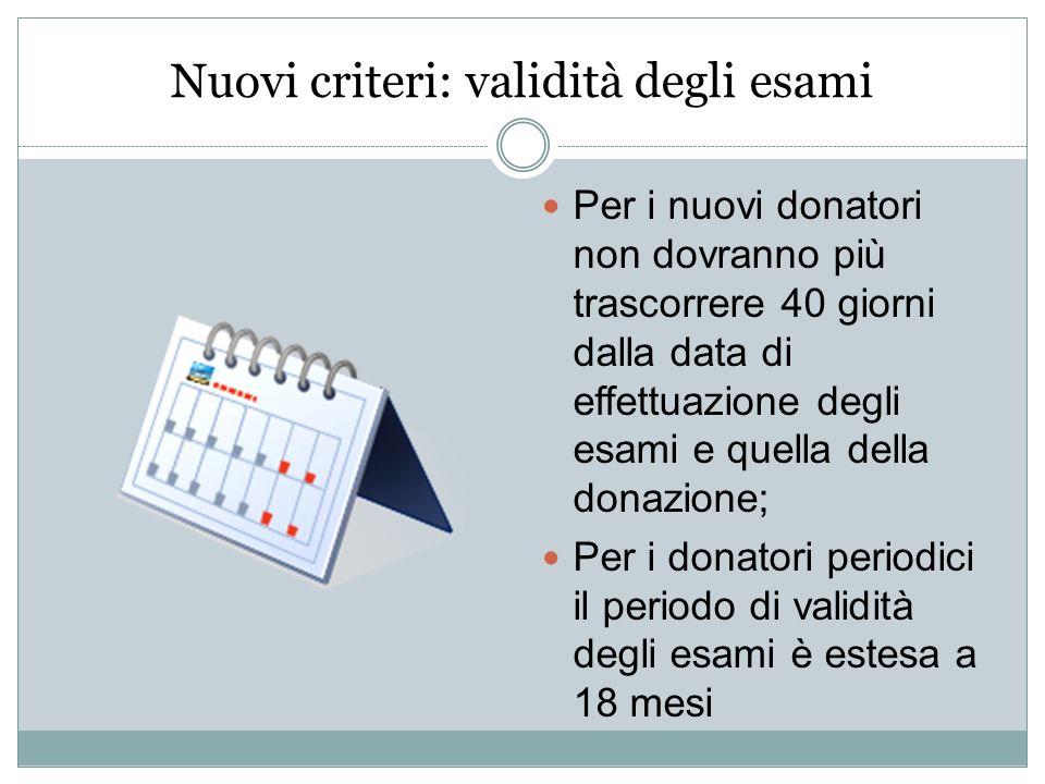 Nuovi criteri: validità degli esami Per i nuovi donatori non dovranno più trascorrere 40 giorni dalla data di effettuazione degli esami e quella della