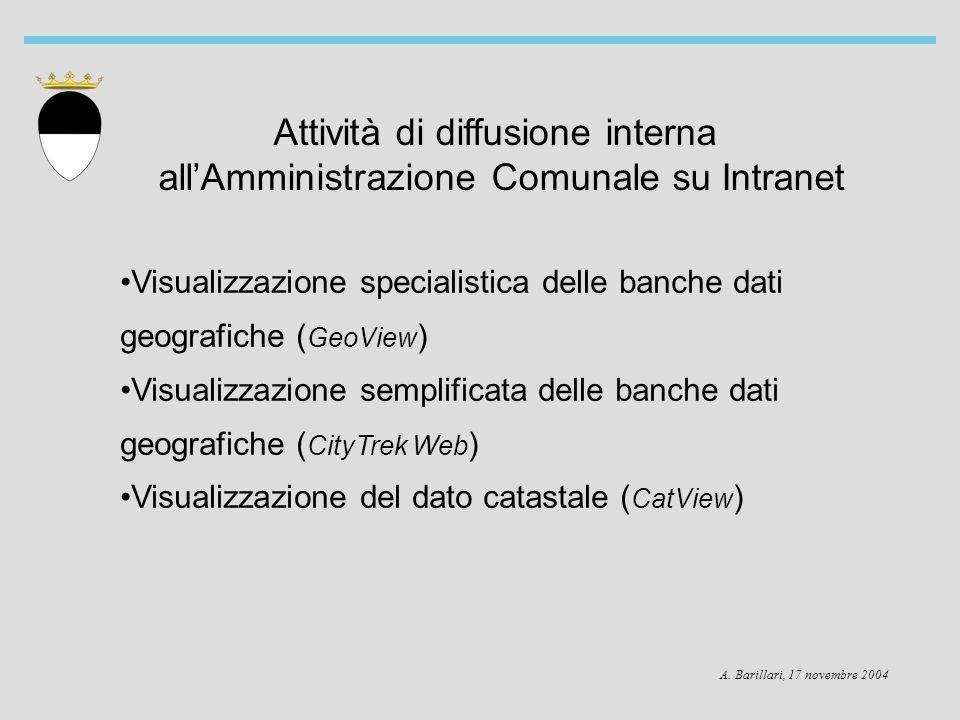 A. Barillari, 17 novembre 2004 Attività di diffusione interna allAmministrazione Comunale su Intranet Visualizzazione specialistica delle banche dati