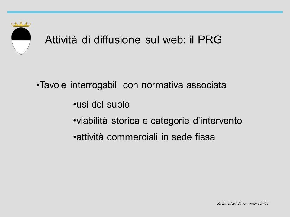 A. Barillari, 17 novembre 2004 Attività di diffusione sul web: il PRG Tavole interrogabili con normativa associata usi del suolo viabilità storica e c