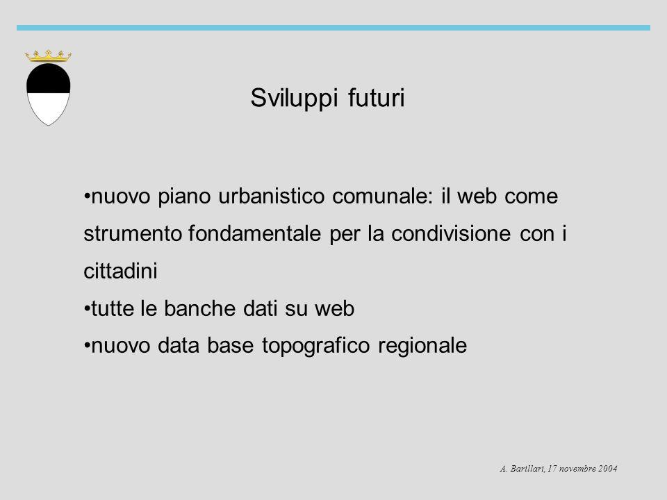 A. Barillari, 17 novembre 2004 Sviluppi futuri nuovo piano urbanistico comunale: il web come strumento fondamentale per la condivisione con i cittadin