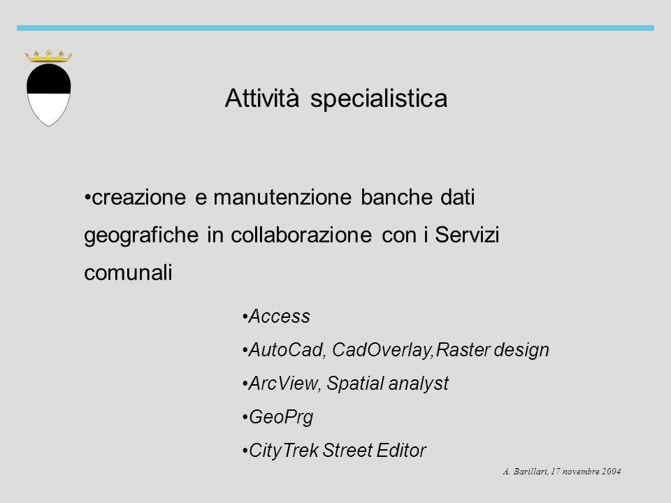 A. Barillari, 17 novembre 2004 Attività specialistica creazione e manutenzione banche dati geografiche in collaborazione con i Servizi comunali Access
