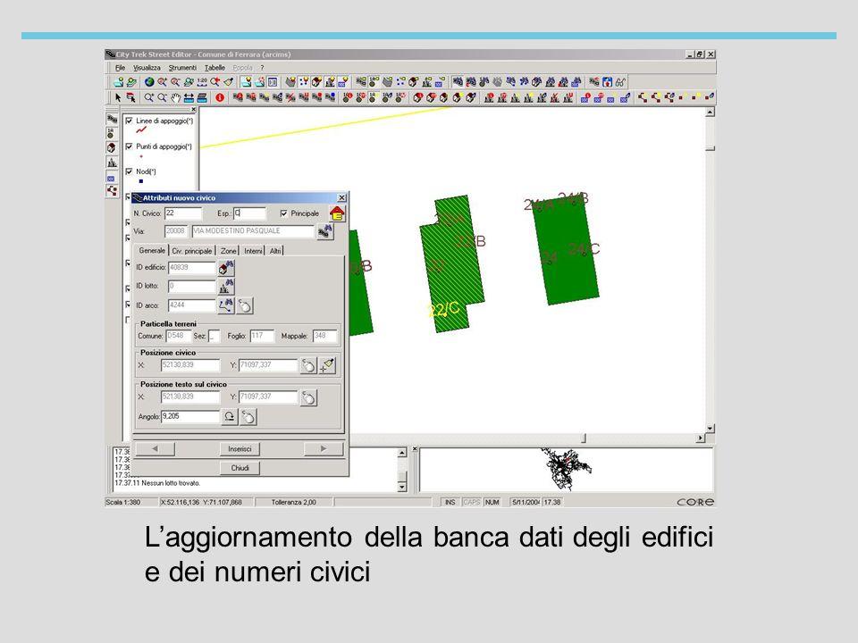 Laggiornamento della banca dati degli edifici e dei numeri civici