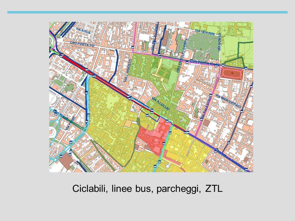 Ciclabili, linee bus, parcheggi, ZTL